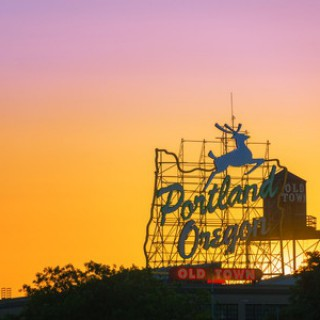 Portland Oregon Sign Sunset