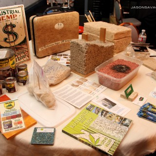Various hempcrete products on display, including the burned hempcrete brick used to test the fire-proof qualities of hempcrete by Oregon Hemp Works.