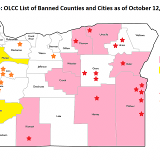 OLCC-reported cities and counties that have implemented bans or voter referrals for bans