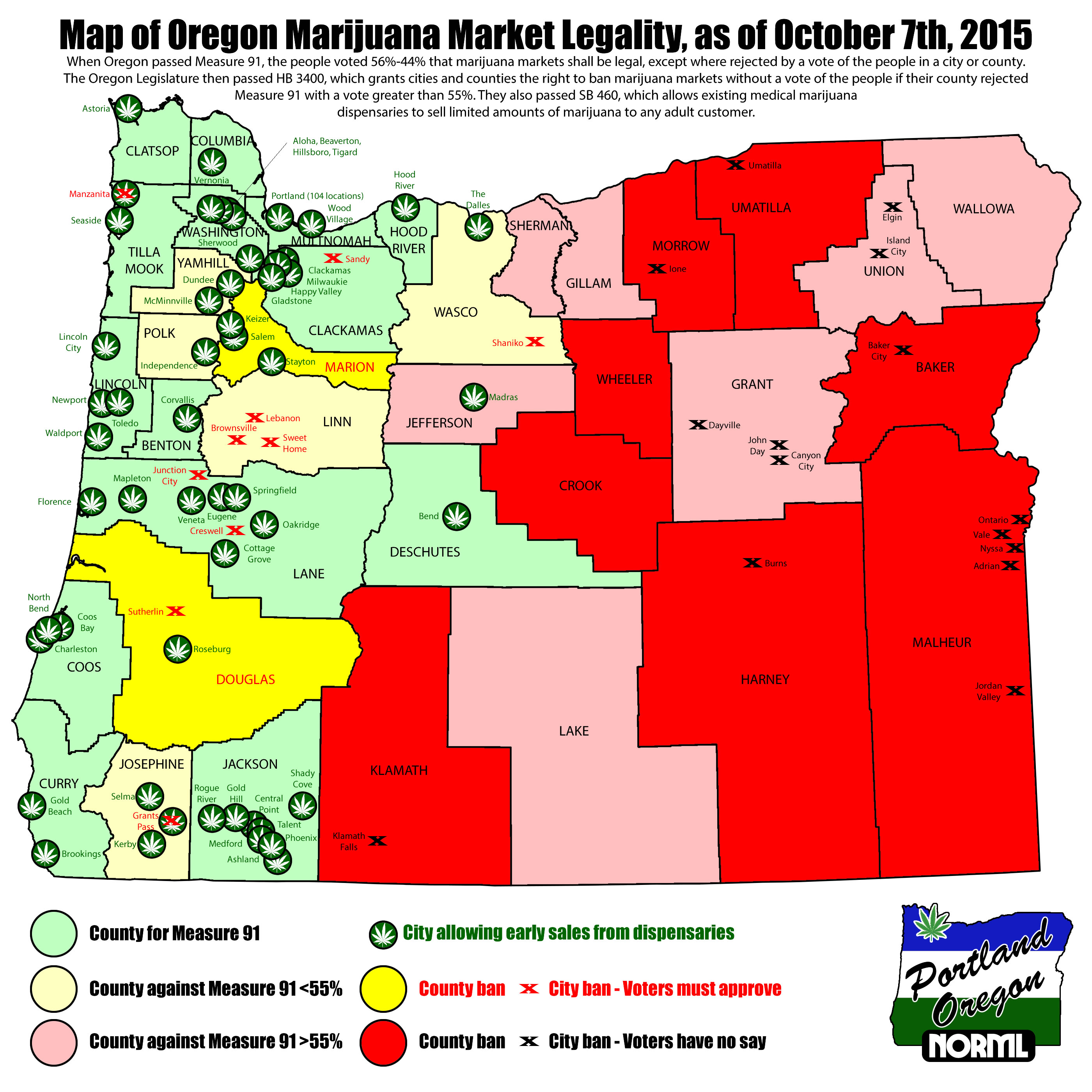 Oregon Map Of Legal Marijuana Shops And Local Bans Portland NORML - Map oregon counties